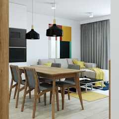 Widok na salon: styl , w kategorii Jadalnia zaprojektowany przez MACZ Architektura - Architekt wnętrz Kraków