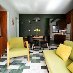 asian Living room by 直方設計有限公司