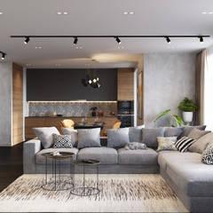 اتاق نشیمن by Студия архитектуры и дизайна Дарьи Ельниковой