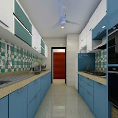 2BHK APARTMENT:  Kitchen by The Design Studio