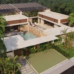 VILLAS GEMELAS TULUM: Casas unifamiliares de estilo  por Carlos Gallego