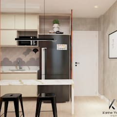 Apto Ondina: Cozinhas embutidas  por Karine Venceslau Arquitetura