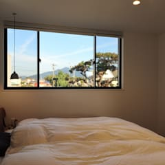 HU 厂型の屋根の家: 塚野建築設計事務所が手掛けた寝室です。,インダストリアル