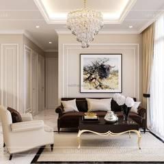 Phong cách Tân Cổ Điển trong thiết kế nội thất căn hộ Vinhomes :  Phòng khách by ICON INTERIOR