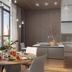 Минимализм на Петровском проспекте: Кухонные блоки в . Автор – FISHEYE Architecture & Design