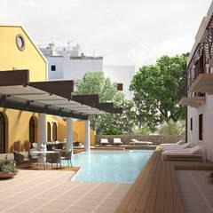 ARCHITETTURA - Render fotorealistici d'esterni: Giardino con piscina in stile  di Insighters Computer Graphics