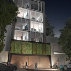 Fachada principal: Condominios de estilo  por NEU ARQUITECTURA