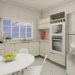 Uma cozinha bem equipada!: Armários e bancadas de cozinha  por Natália Mourão Arquitetura   Interiores   Paisagismo