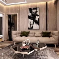 مدينتي - القاهرة الجديدة:  غرفة المعيشة تنفيذ  Mockup studio