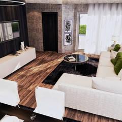 التجمع الاول - القاهرة الجديدة:  غرفة المعيشة تنفيذ  Mockup studio, حداثي