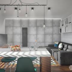 Projekt mieszkania 50m2: styl , w kategorii Salon zaprojektowany przez hexaform