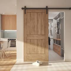 Mieszkanie 48 m2: styl , w kategorii Korytarz, przedpokój zaprojektowany przez hexaform