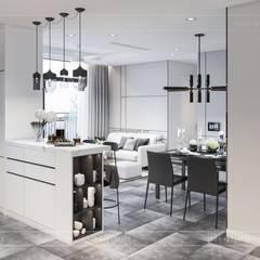 Thiết kế căn hộ Landmark 6 Vinhomes Central Park - Phong cách hiện đại:  Phòng ăn by ICON INTERIOR
