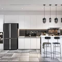 Thiết kế căn hộ Landmark 6 Vinhomes Central Park - Phong cách hiện đại:  Nhà bếp by ICON INTERIOR