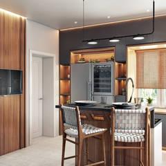 Интерьер дома в Саранске: Встроенные кухни в . Автор – Zibellino.Design,