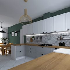 KUCHNIA W STYLU ANGIELSKIM: styl , w kategorii Kuchnia zaprojektowany przez KADA WNĘTRZA S.C.