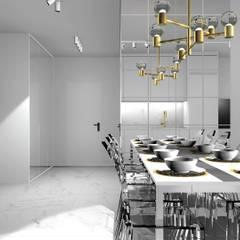 Jadalnia z widokiem na holl: styl , w kategorii Jadalnia zaprojektowany przez 91m2 Architektura Wnętrz