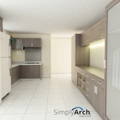 Wet Kitchen of Private House at PIK, North Jakarta:  Dapur built in by Simply Arch.