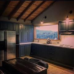 Casa Río Frio : Salas de estilo rústico por CASA DINAMICA | Arquitectos de Interiores | Bogotá