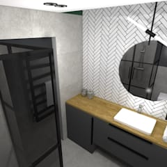 Łazienka w mieszkaniu na wynajem w inwestycji Front Park Motława: styl , w kategorii Łazienka zaprojektowany przez e-wnetrza.pl - Architekci wnętrz on-line