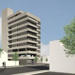 Edificio Neuquen capital: Condominios de estilo  por SINERGIA ARQUITECTURA