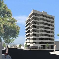 Edificio Neuquen Capital : Condominios de estilo  por SINERGIA ARQUITECTURA