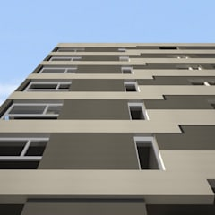 Fachada cerramiento: Condominios de estilo  por SINERGIA ARQUITECTURA