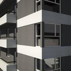 Esquina Detallle  Edificio: Condominios de estilo  por SINERGIA ARQUITECTURA
