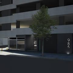 Acceso Edificio Alta Barda: Condominios de estilo  por SINERGIA ARQUITECTURA