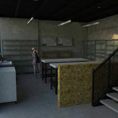 Interior taller : Pasillos y recibidores de estilo  por GT-R Arquitectos