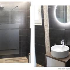 Rénovation d'une salle d'eau de 3m². Coloris foncés mais esprit zen.: Salle de bains de style  par  Lucile Tréguer, décoratrice d'intérieur