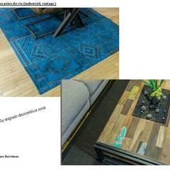 PROJETS, PLANCHES TENDANCES, PLANS 3D, MEUBLE SUR-MESURES: Salon de style  par  Lucile Tréguer, décoratrice d'intérieur