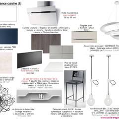 Planches tendances (projets divers): Cuisine intégrée de style  par  Lucile Tréguer, décoratrice d'intérieur