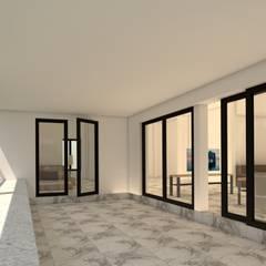 บ้านจำลอง 3D คุณช้าง:  ระเบียงและโถงทางเดิน by บริษัท พี นัมเบอร์วัน ดีไซน์ แอนด์ คอนสตรัคชั่น จำกัด