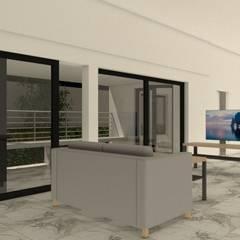 บ้านจำลอง 3D คุณช้าง:  ห้องนั่งเล่น โดย บริษัท พี นัมเบอร์วัน ดีไซน์ แอนด์ คอนสตรัคชั่น จำกัด, โมเดิร์น