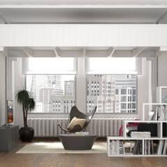 """Letto a Soppalco """"Rising"""" - Camera da letto e soggiorno nella stessa stanza: Camera da letto in stile  di cinius s.r.l."""