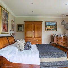 Master Bedroom and Ensuite in West Sussex:  Bedroom by Elizabeth Bee Interior Design