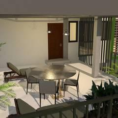 บ้านจำลอง 3D 3 ชั้น:  ระเบียง, นอกชาน by บริษัท พี นัมเบอร์วัน คอนสตรัคชั่น จำกัด