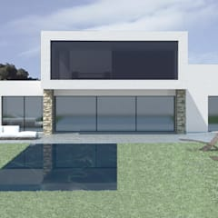 Fachada frontal con vistas al jardín: Casas unifamilares de estilo  de Vidal Molina Arquitectos