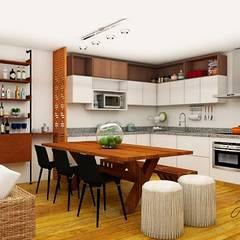 Casa de Playa: Muebles de cocinas de estilo  por Farach Interior Design,