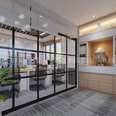Nội thất văn phòng từ bên ngoài nhìn vào trong:  Phòng học/Văn phòng by Công ty TNHH Nội Thất Mạnh Hệ
