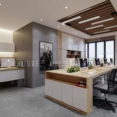 Không gian phòng làm việc rộng rãi và thoáng đãng:  Phòng học/Văn phòng by Công ty TNHH Nội Thất Mạnh Hệ