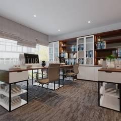Cửa sổ lớn đón ánh sáng khá tiện ích cho căn phòng:  Phòng học/Văn phòng by Công ty TNHH Nội Thất Mạnh Hệ