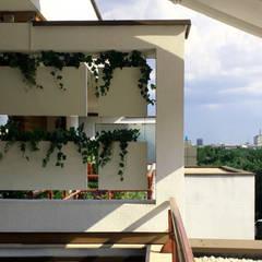 Cortina vegetal con módulos de 40x40 cm y 40x80 cm: Terrazas de estilo  de Systemclip by Serastone