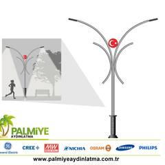 Vijver door palmiye aydınlatma