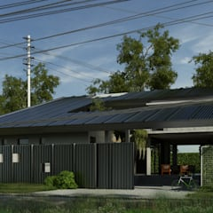 Fachada la casa  protegida del exterior : Casas ecológicas de estilo  por Rr+a  bureau de arquitectos