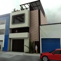 Render fachada principal: Espacios comerciales de estilo  por Gliptica Design