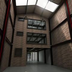 Render vista interior: Espacios comerciales de estilo  por Gliptica Design