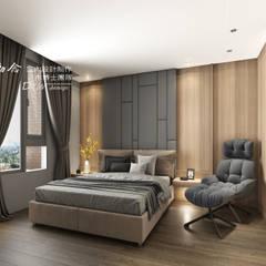 主臥室/臥室/床背牆設計:  臥室 by 木博士團隊/動念室內設計制作