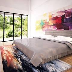 غرف نوم صغيرة تنفيذ Andrés Hincapíe Arquitectos  A H A